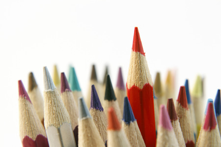 individualist: Red pencil standing out from others