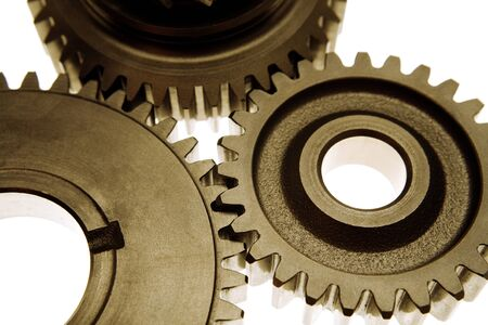 gear: Metal cog gears joining together