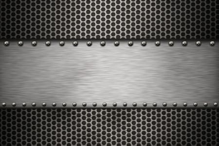 steel: Grill pattern and brushed steel background Stock Photo