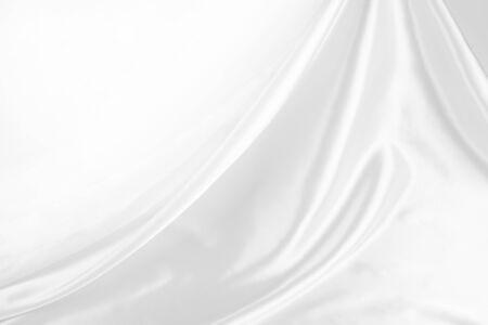satin: Closeup of rippled white silk fabric Stock Photo