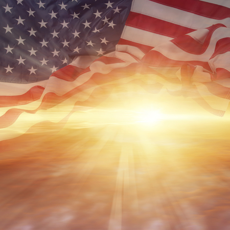 bright sky: American flag and bright sky