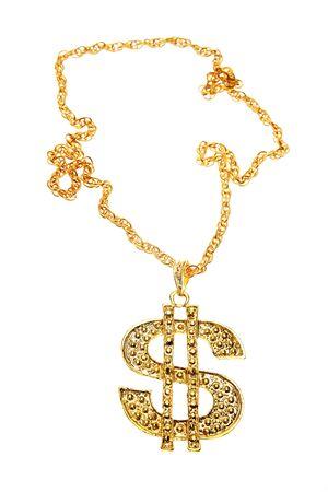 dollar sign: Dollar symbol necklace on plain background Stock Photo