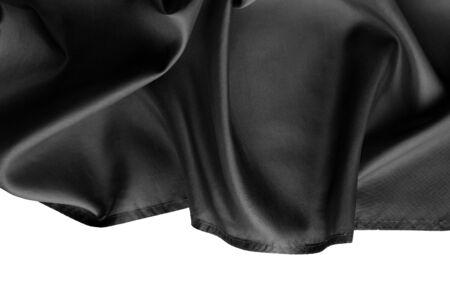 black silk: Rippled black silk fabric on white background Stock Photo