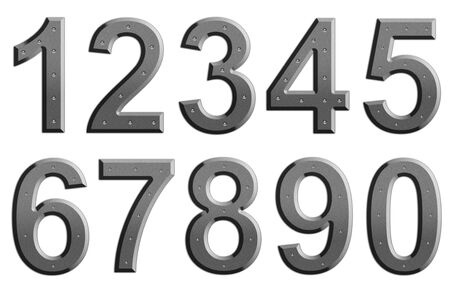 steel: Metal numbers on plain background Stock Photo
