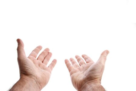 two hands: Empty hands reaching, on plain background