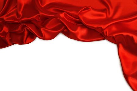 sexual abstract: Closeup of folds in red silk fabric on plain background. Stock Photo
