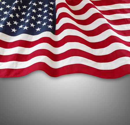 advertise with us: American flag on grey background