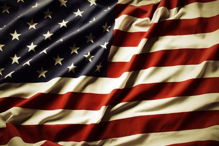 bandera estados unidos: Primer de la bandera americana ondulada Foto de archivo
