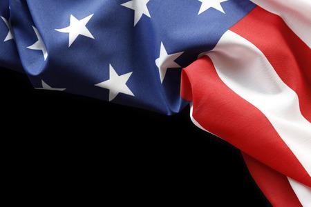 black flag: Closeup of American flag on black background