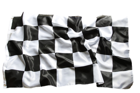 Checkered black and white flag closeup Stock Photo