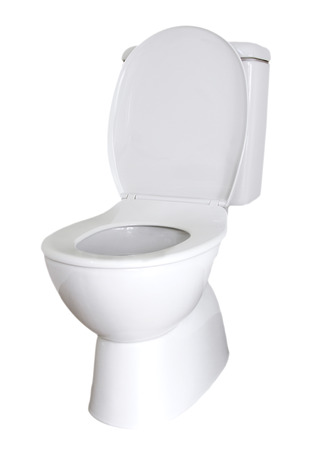 Closeup of toilet isolated on plain background