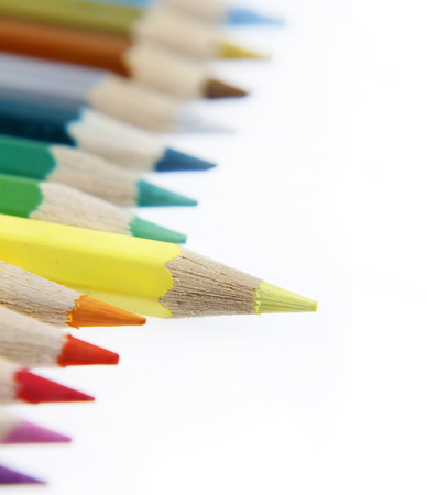 standing out: Yellow pencil standing out from others Stock Photo