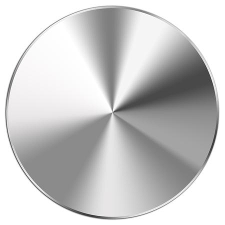 metales: botón de acero inoxidable brillante en blanco