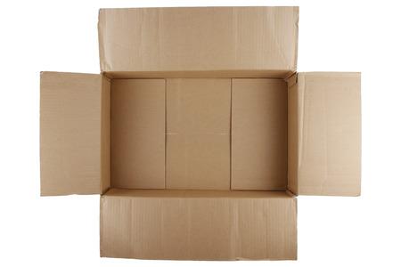 Open lege kartonnen doos op witte achtergrond Stockfoto