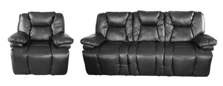 seater: Black chair and sofa on plain background Stock Photo