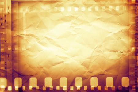 macro film: Film negative frames on brown paper