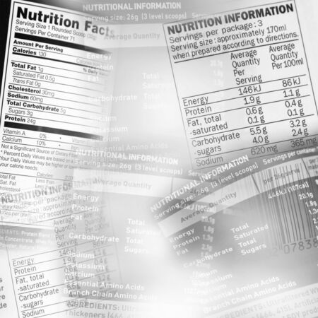Nutrition information facts on assorted food labels Stock Photo