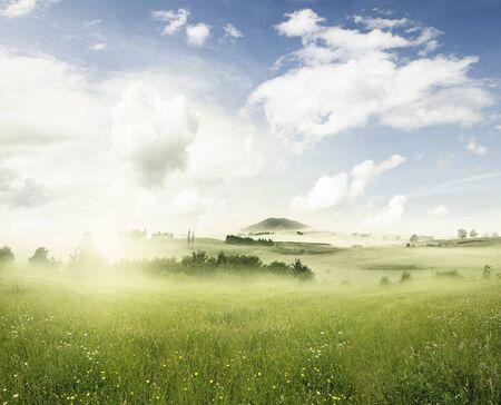 himmel mit wolken: Sunny Frühlingswiese in Landschaft Lizenzfreie Bilder