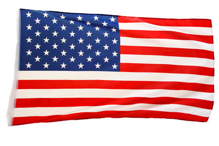 symbolical: Closeup of American flag on white background Stock Photo