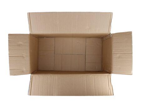 open box: Open empty cardboard box on white background Stock Photo