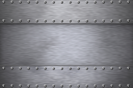 Rivets in brushed steel background Imagens - 46623986