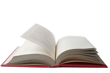 libros abiertos: Libro abierto sobre fondo liso  Foto de archivo
