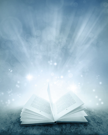 one story: Open book and magical background
