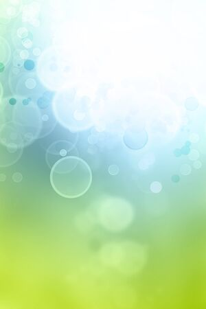 advertising space: Bokeh circles green blue background, space for advertising copy