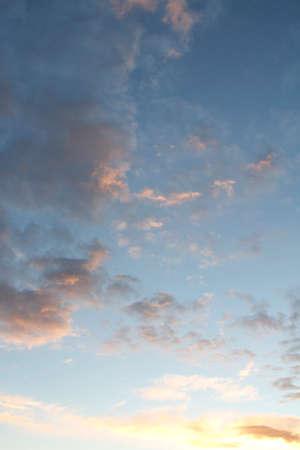 evening sky: Sunlit clouds in evening sky