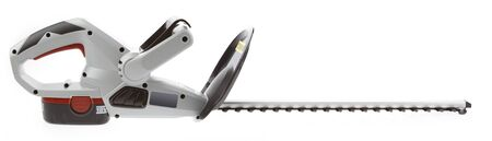 trimmer: New cordless hedge trimmer isolated on plain background Stock Photo