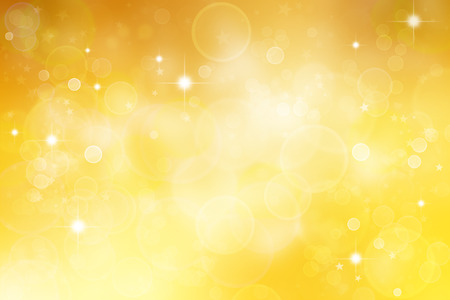 gold yellow: Circles and stars yellow abstract background Stock Photo