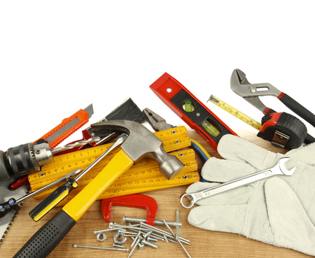 work tools: Assorted work tools Stock Photo