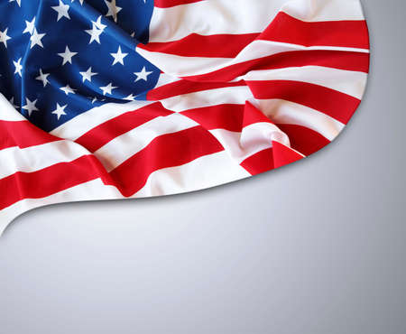 the united states flag: American flag on grey background