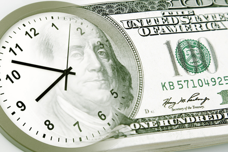 business funds: Clock and American banknote. Time is money Stock Photo