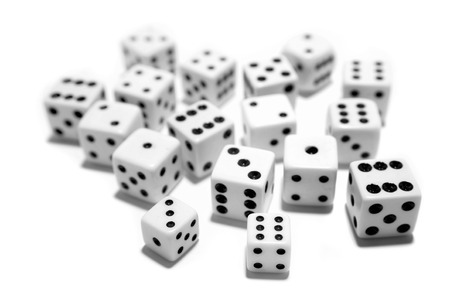 Dice on plain background Stock Photo