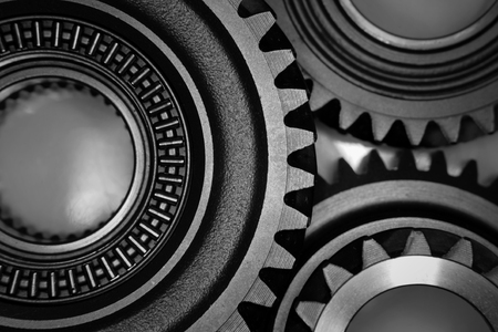 cogs: Metal cog gears joining together