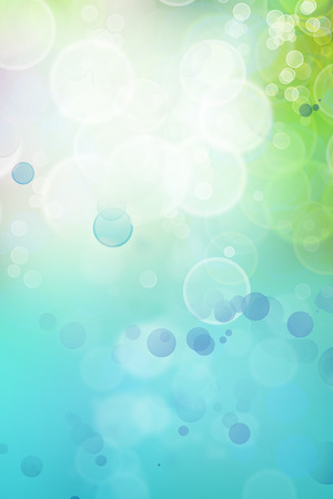 blue green background: Bokeh circles green blue background, space for advertising copy