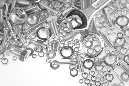 metal fastener: Wrenches on nuts and bolts