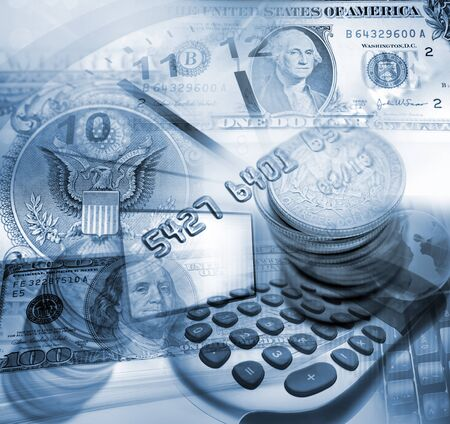 american currency: American currency, clock and calculator