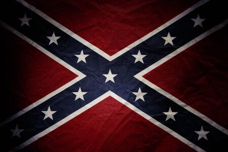 rebel flag: Closeup of textured Confederate flag Stock Photo
