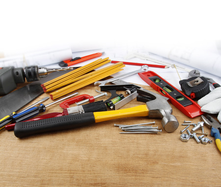 assortment: Assorted work tools on wood
