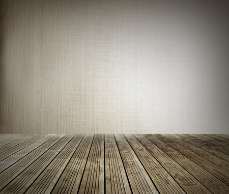 floorboards: Wooden floorboards and blank wall