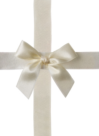 white ribbon: Bow and ribbon on plain background
