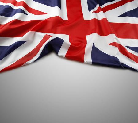 bandera inglaterra: Bandera Union Jack en el fondo gris Foto de archivo