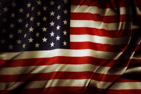 絹のようなアメリカ国旗のクローズ アップ