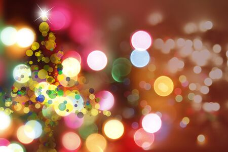 bright christmas tree: Christmas tree shape and blurred circles background