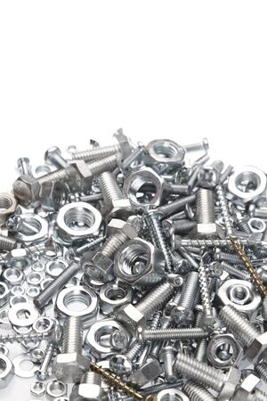 fasteners: Chrome nuts and bolts closeup