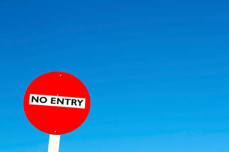 no entry: No entry sign in front of blue