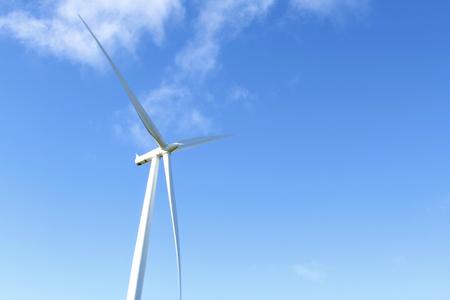 windy energy: Giant wind turbine and blue sky Stock Photo