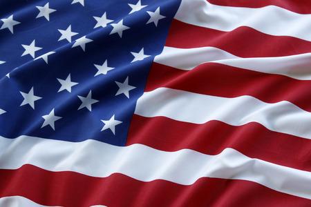 Primo piano di increspato bandiera americana